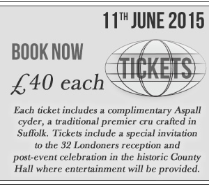 Click here for tickets - £40 each, 11th June 2015Tickets